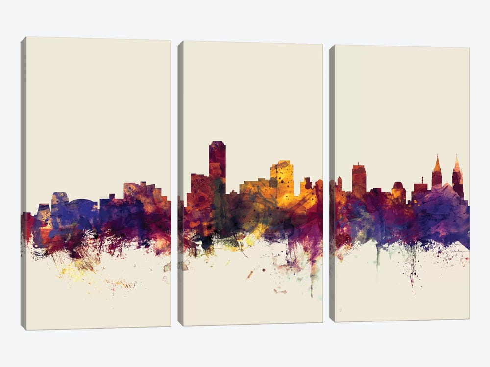 Skyline Series: Adelaide, Australia On Beige by Michael Tompsett 3-piece Canvas Print