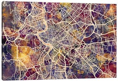 Rome Italy City Street Map III Canvas Art Print