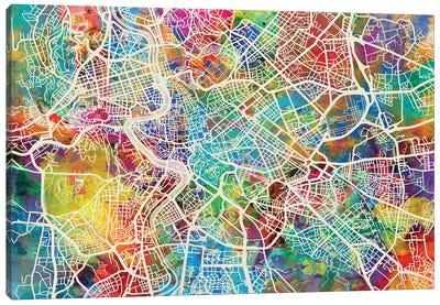 Rome Italy Street Map IV Canvas Art Print