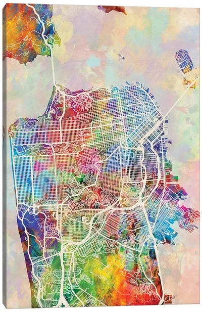 San Francisco City Street Map I Canvas Art Print
