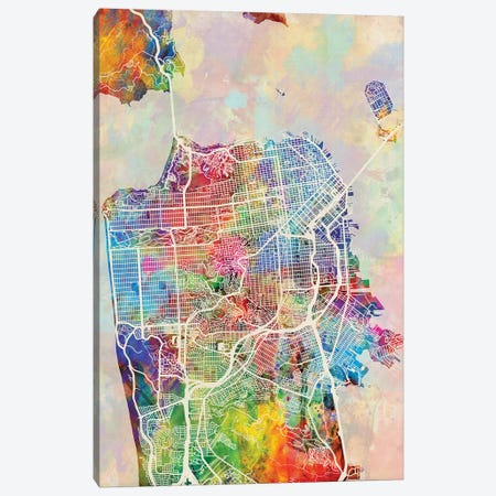 San Francisco City Street Map I Canvas Print #MTO1774} by Michael Tompsett Canvas Art Print