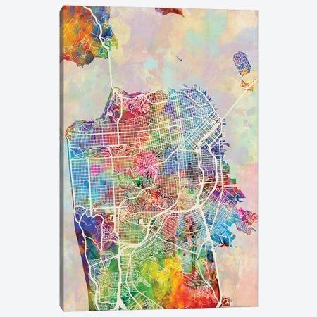San Francisco City Street Map I Canvas Print #MTO1774} by Michael Tompsett Canvas Art Print
