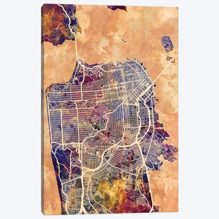 San Francisco City Street Map II Canvas Print #MTO1775} by Michael Tompsett Canvas Print