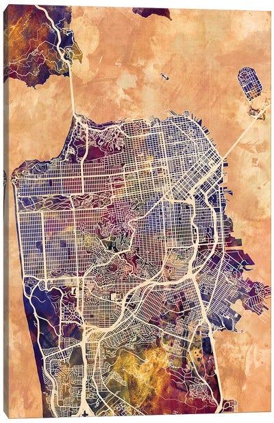 San Francisco City Street Map II Canvas Art Print