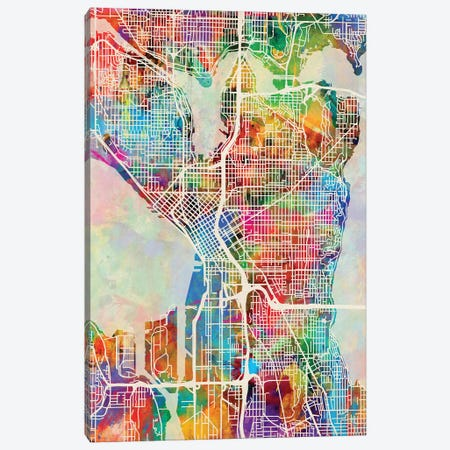 Seattle Washington Street Map I Canvas Print #MTO1776} by Michael Tompsett Canvas Print