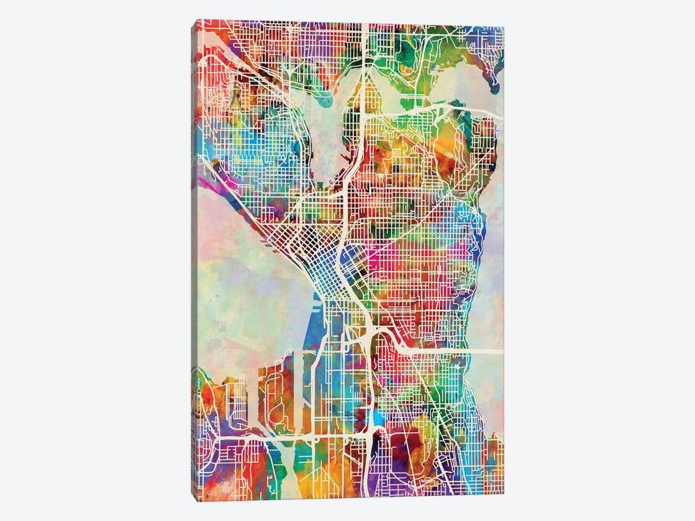 Seattle Washington Street Map I by Michael Tompsett 1-piece Canvas Print