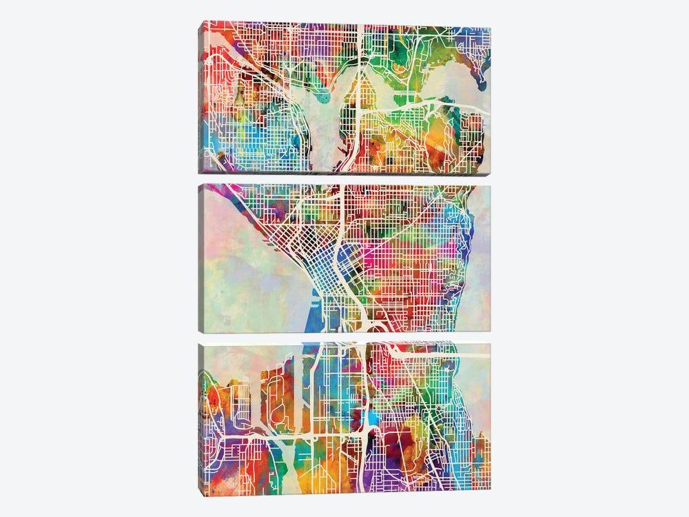 Seattle Washington Street Map I by Michael Tompsett 3-piece Canvas Print