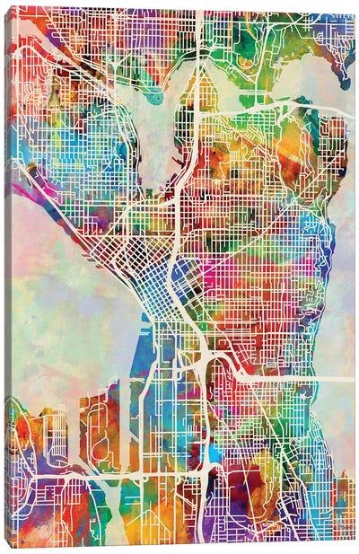 Seattle Washington Street Map I Canvas Art Print