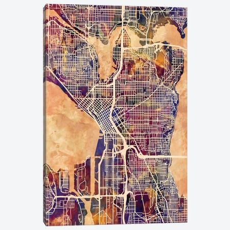 Seattle Washington Street Map II Canvas Print #MTO1777} by Michael Tompsett Canvas Art Print