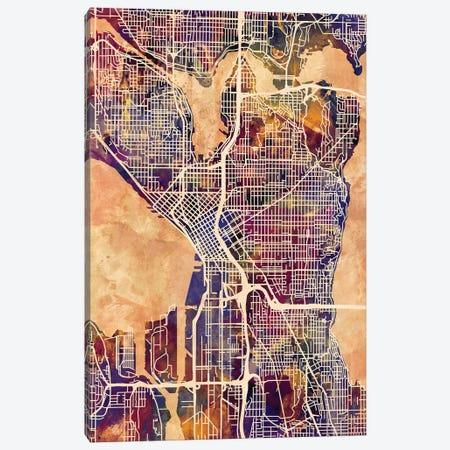 Seattle Washington Street Map II Canvas Print #MTO1777} by Michael Tompsett Canvas Art Print