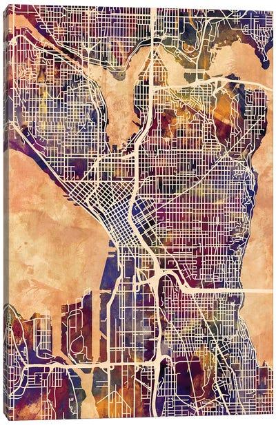 Seattle Washington Street Map II Canvas Art Print
