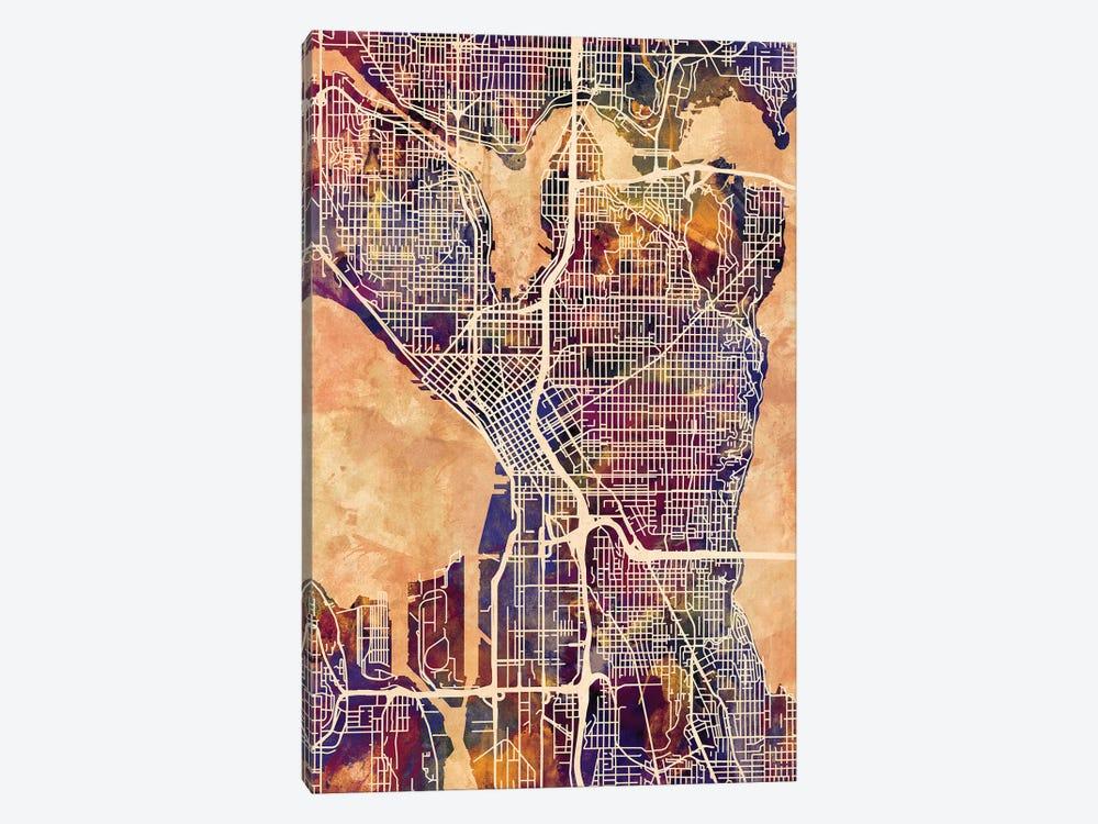Seattle Washington Street Map II by Michael Tompsett 1-piece Canvas Artwork