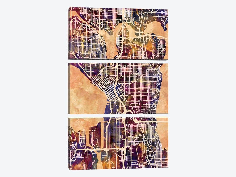 Seattle Washington Street Map II by Michael Tompsett 3-piece Canvas Artwork