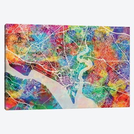 Southampton England City Map I Canvas Print #MTO1778} by Michael Tompsett Canvas Wall Art