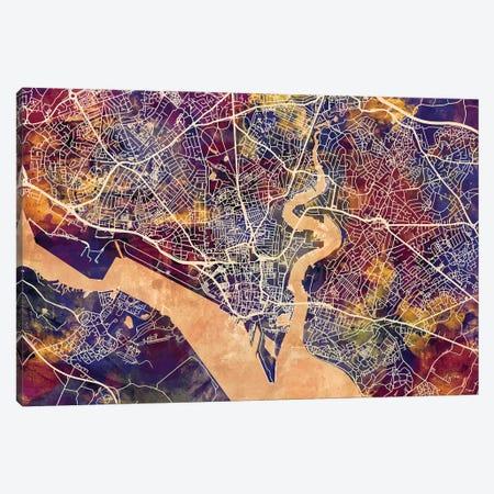 Southampton England City Map II Canvas Print #MTO1779} by Michael Tompsett Canvas Art