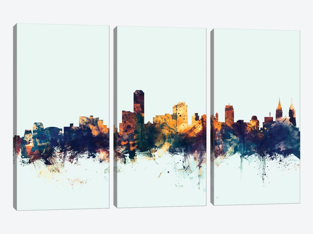Adelaide, Australia On Blue by Michael Tompsett 3-piece Canvas Art