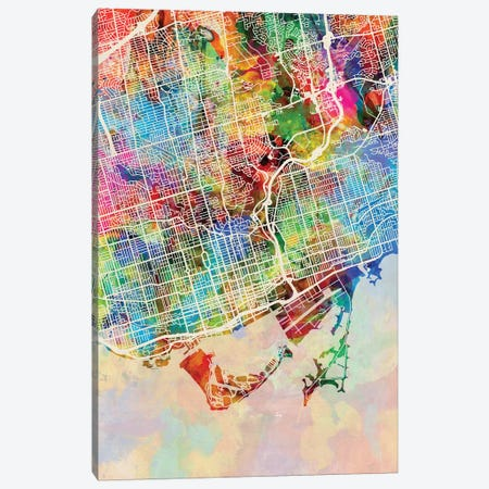 Toronto Street Map I Canvas Print #MTO1782} by Michael Tompsett Art Print