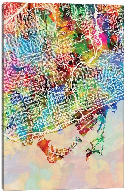 Toronto Street Map I Canvas Art Print