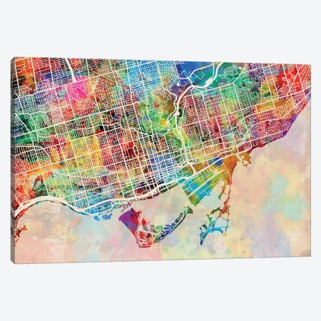 Toronto Street Map III Canvas Print #MTO1783} by Michael Tompsett Canvas Art Print