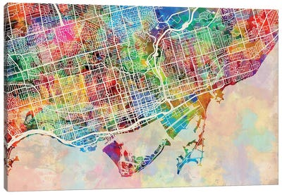 Toronto Street Map III Canvas Art Print