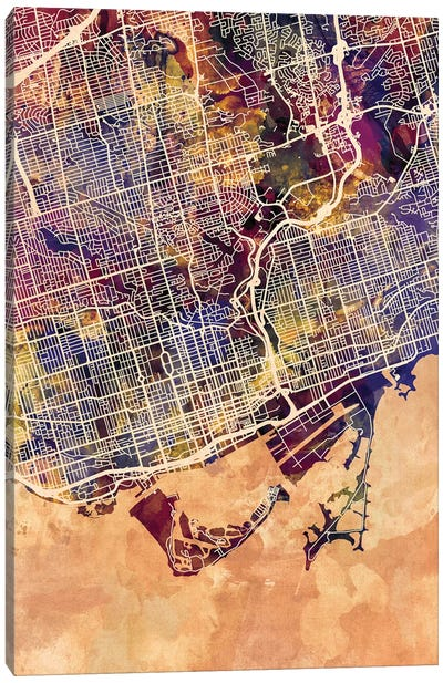 Toronto Street Map II Canvas Art Print