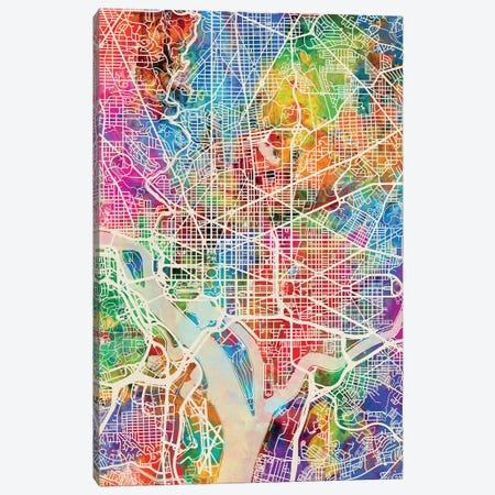 Washington DC Street Map I 3-Piece Canvas #MTO1787} by Michael Tompsett Canvas Art