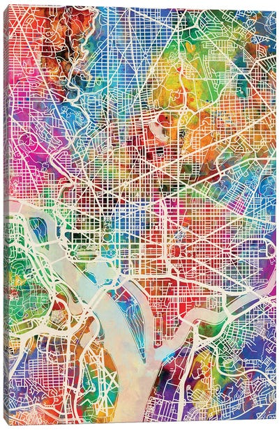Washington DC Street Map I Canvas Art Print