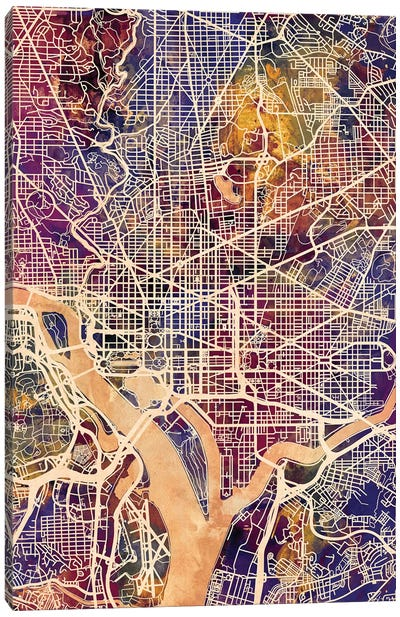 Washington DC Street Map II Canvas Art Print