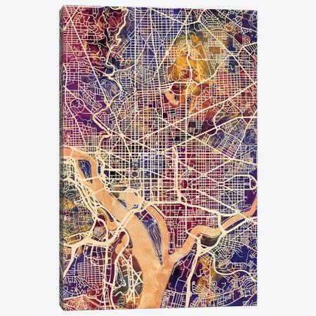 Washington DC Street Map II 3-Piece Canvas #MTO1788} by Michael Tompsett Canvas Art Print