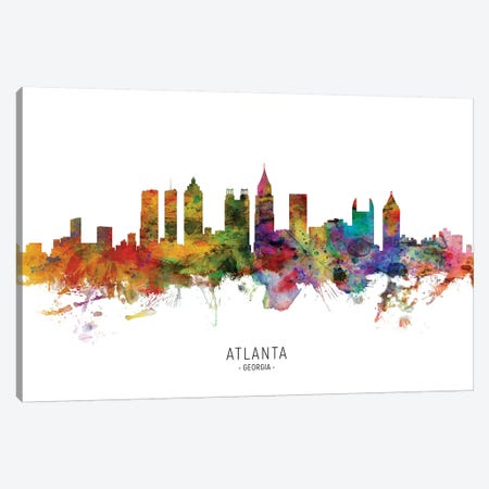 Atlanta Georgia Skyline Canvas Print #MTO1789} by Michael Tompsett Art Print