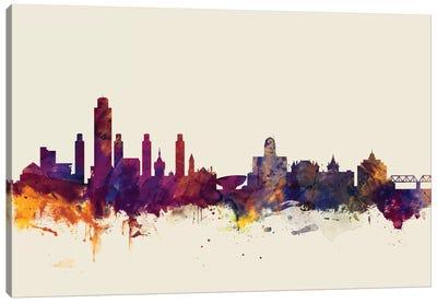 Skyline Series: Albany, New York, USA On Beige Canvas Print #MTO178