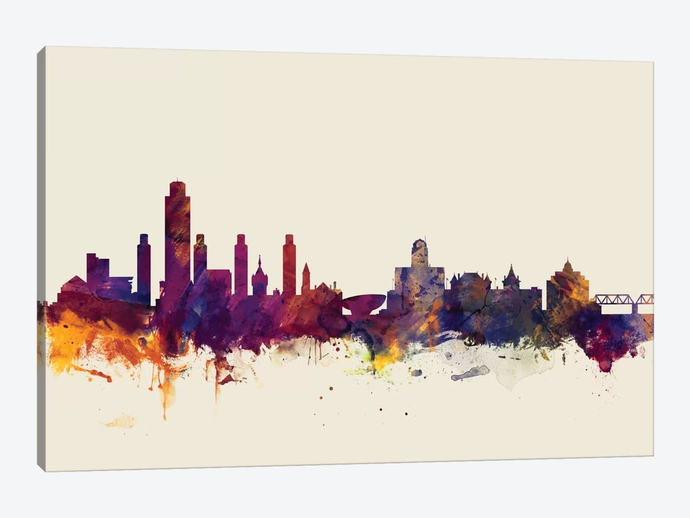 Skyline Series: Albany, New York, USA On Beige by Michael Tompsett 1-piece Canvas Print