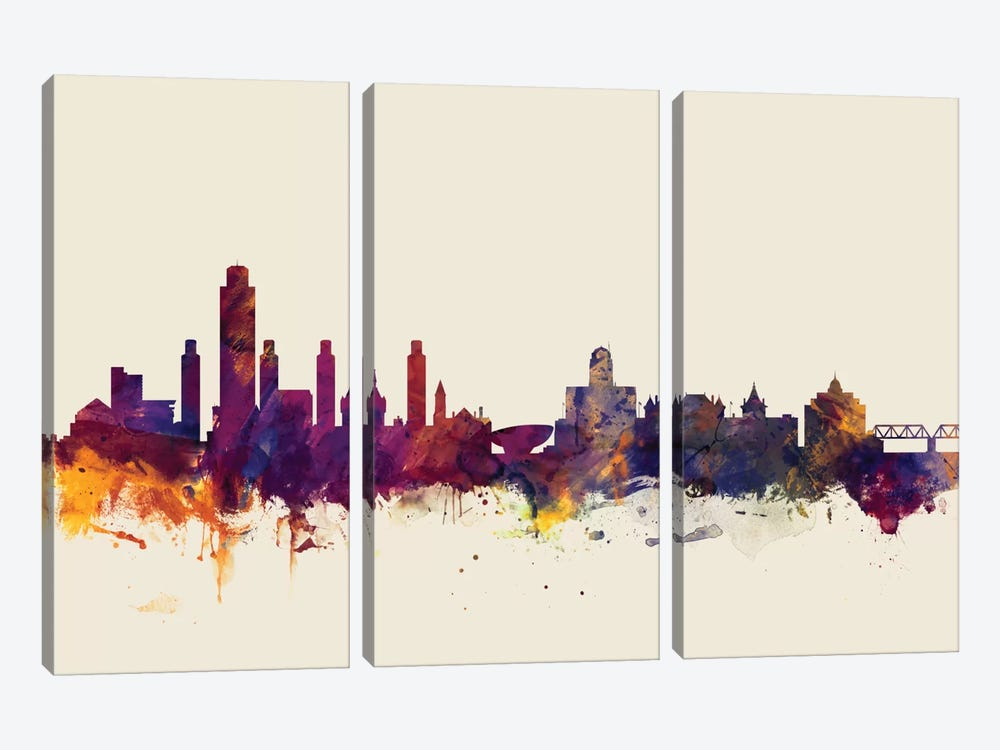Skyline Series: Albany, New York, USA On Beige by Michael Tompsett 3-piece Canvas Art Print
