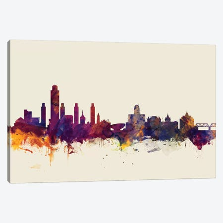 Albany, New York, USA On Beige 3-Piece Canvas #MTO178} by Michael Tompsett Canvas Art Print