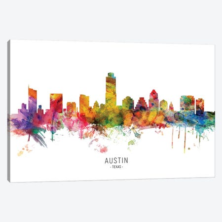 Austin Texas Skyline Canvas Print #MTO1793} by Michael Tompsett Canvas Wall Art