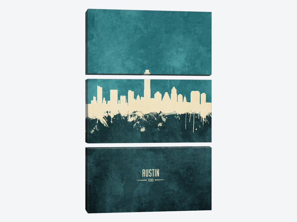 Austin Texas Skyline by Michael Tompsett 3-piece Canvas Art Print