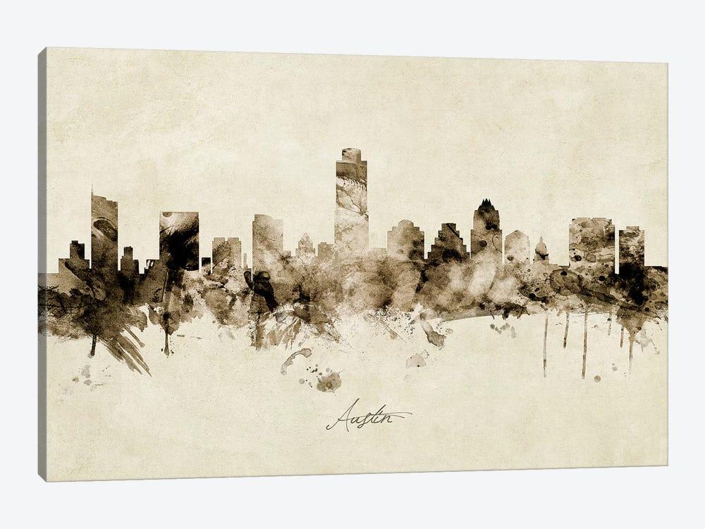 Austin Texas Skyline by Michael Tompsett 1-piece Canvas Artwork