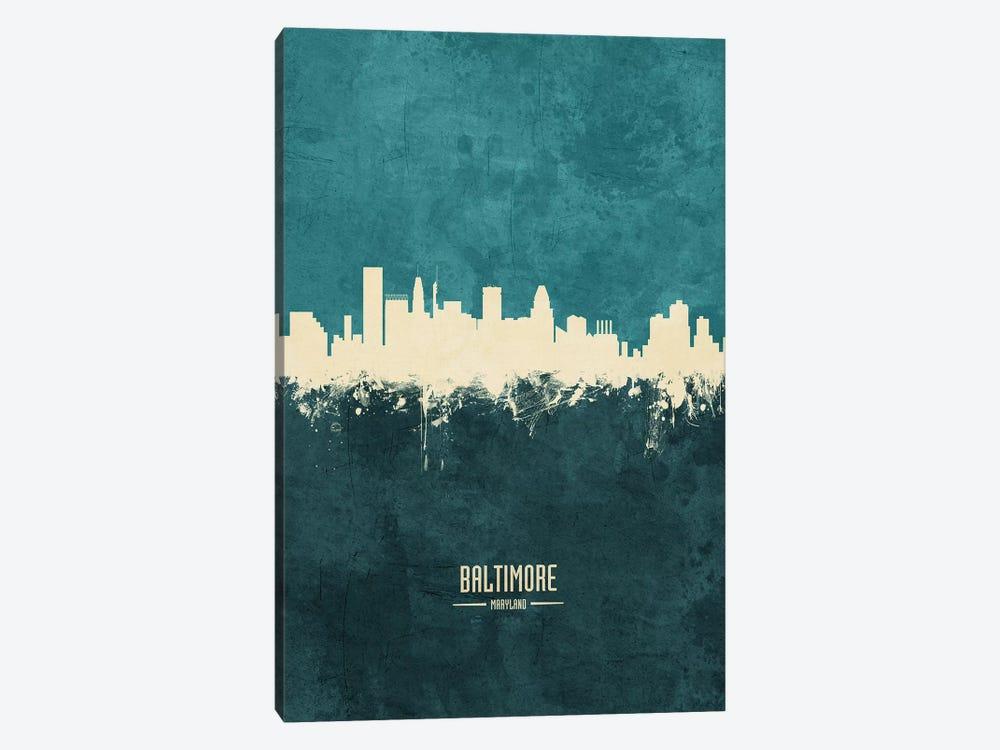 Baltimore Maryland Skyline by Michael Tompsett 1-piece Canvas Artwork