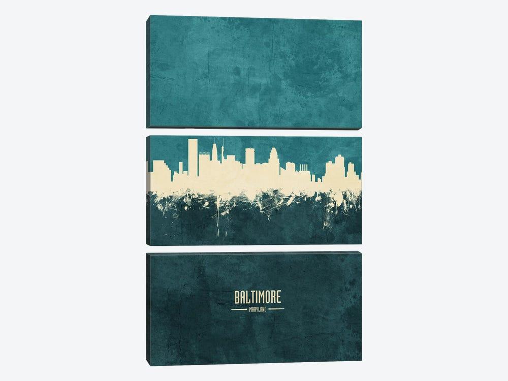 Baltimore Maryland Skyline by Michael Tompsett 3-piece Canvas Art