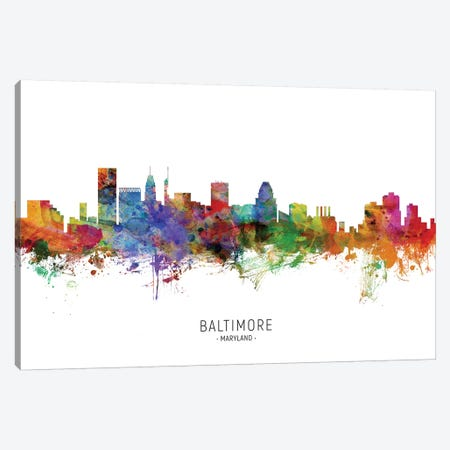 Baltimore Maryland Skyline Canvas Print #MTO1798} by Michael Tompsett Canvas Art