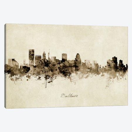 Baltimore Maryland Skyline Canvas Print #MTO1799} by Michael Tompsett Canvas Art