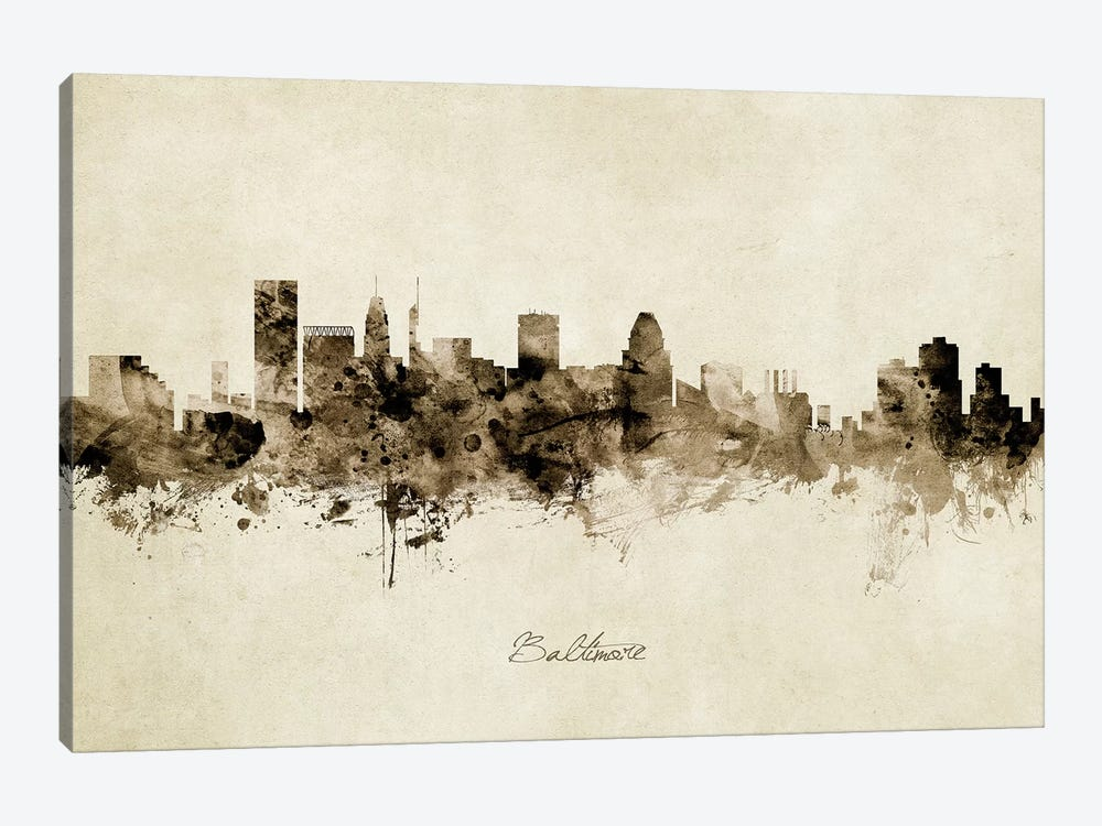 Baltimore Maryland Skyline by Michael Tompsett 1-piece Canvas Art
