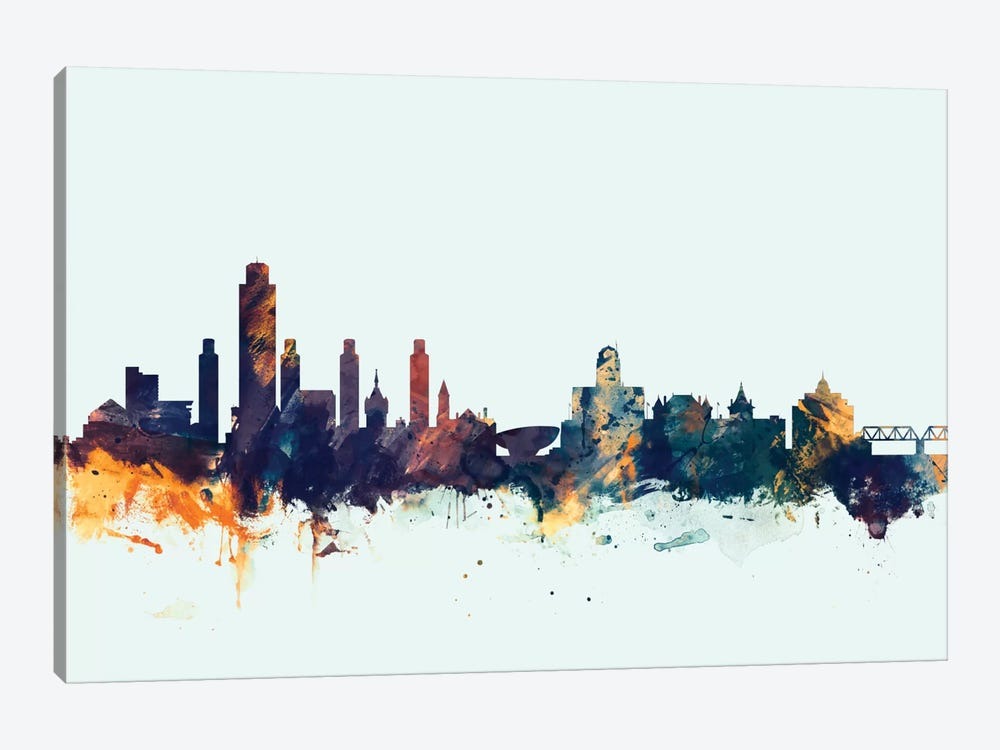 Skyline Series: Albany, New York, USA On Blue by Michael Tompsett 1-piece Canvas Artwork