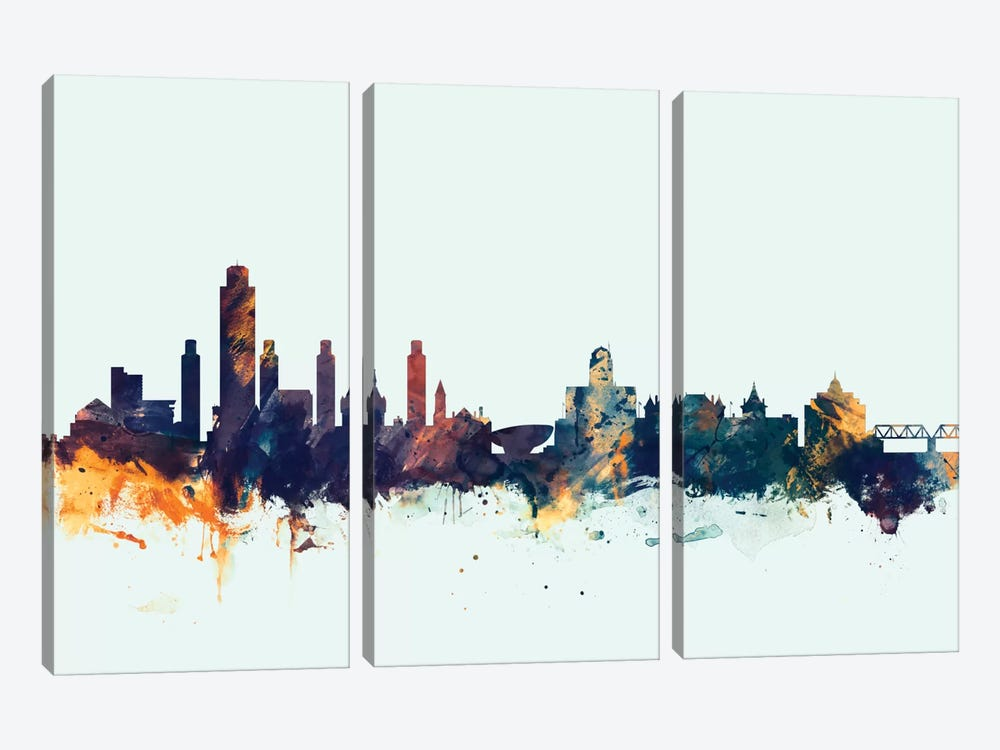Skyline Series: Albany, New York, USA On Blue by Michael Tompsett 3-piece Canvas Wall Art