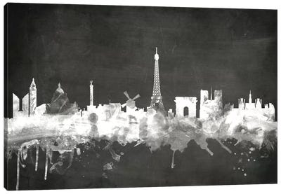 Blackboard Skyline Series: Paris, France Canvas Print #MTO17
