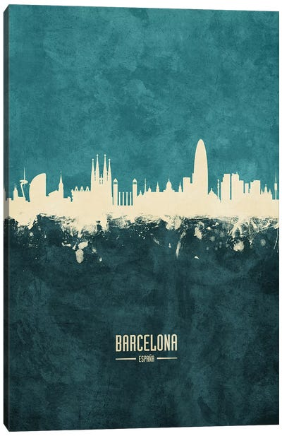 Barcelona Spain Skyline Canvas Art Print