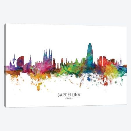 Barcelona Spain Skyline Canvas Print #MTO1802} by Michael Tompsett Canvas Artwork