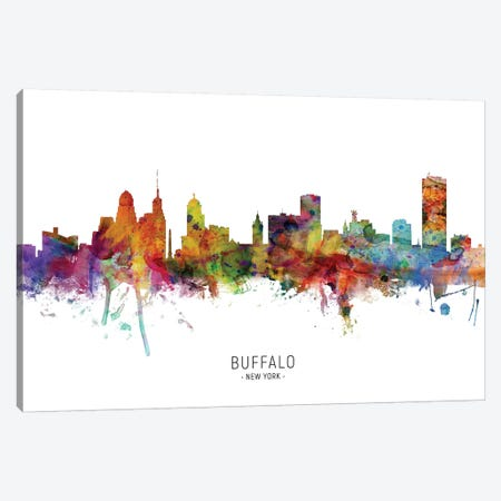 Buffalo New York Skyline Canvas Print #MTO1809} by Michael Tompsett Canvas Artwork