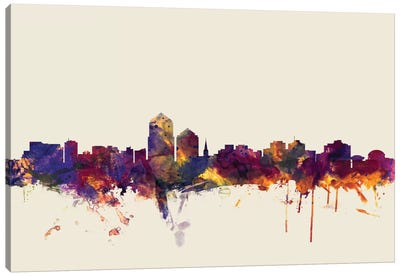 Skyline Series: Albuquerque, New Mexico, USA On Beige Canvas Art Print