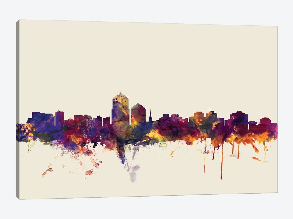 Albuquerque, New Mexico, USA On Beige by Michael Tompsett 1-piece Canvas Art